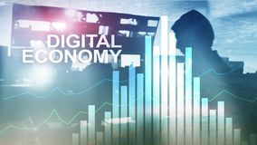 DIgital economy, financial technology concept on blurred background. stock illustration