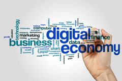 Digital economy word cloud concept on grey background.  Royalty Free Stock Photos