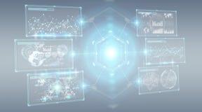 Digital ekranizuje interfejs z hologramów datas 3D renderingiem Zdjęcia Stock