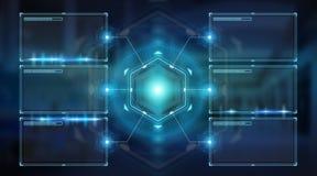 Digital ekranizuje interfejs z hologramów datas 3D renderingiem Zdjęcie Royalty Free