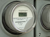 Digital Electric Meter. Modern digital electric meter on a building royalty free stock photo
