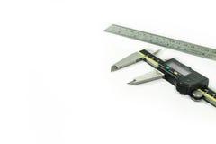 Digital Electronic Vernier Caliper and ruler. On white background stock photo