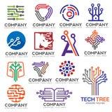 Digital electronics set logo design. Creative electronic circuits logo vector, IT technology logo concept Royalty Free Stock Image