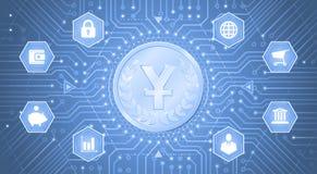 Digital/elektronisk valuta av Yuan vektor illustrationer