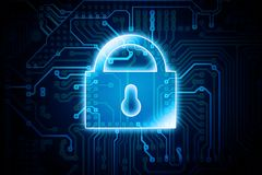 Digital Encryption Lock. Conceptual Illustration. Data Safety in IT Technology Stock Images