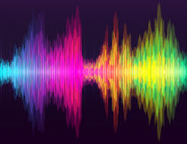 Digital energy sound music equalizer with colored rainbow lights backdrop. Royalty Free Stock Photo