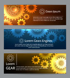 Digital engineering banner set. Teamwork or technology construction banners with gears Royalty Free Stock Images