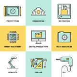 Digital engineering and production flat icons set Stock Images