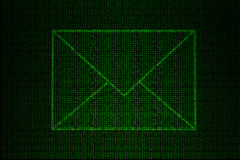 Digital envelope made of green binary code Royalty Free Stock Image