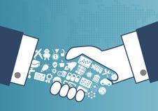 Digital ermöglichtes globales Geschäftskonzept mit Illustration des Händedrucks zwischen Geschäftsleuten stockbilder
