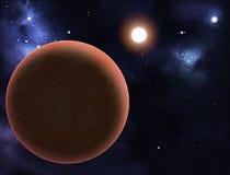 Digital erstelltes starfield mit rotem Planeten Stockbild