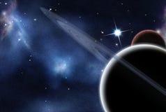 Digital erstelltes starfield und Planeten Lizenzfreie Stockbilder