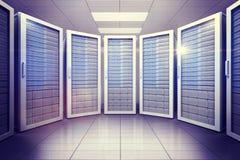 Digital erzeugter Serverraum mit Türmen Stockfotografie