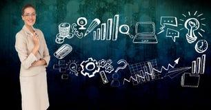 Digital erzeugtes Bild der Geschäftsfrau durch verschiedene Ikonen Stockbilder