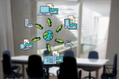 Digital erzeugtes Bild der Kugel umgeben mit verschiedenen Ikonen im Büro Stockfotos