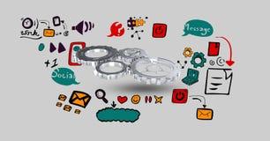 Digital erzeugtes Bild von Gängen unter verschiedenen Ikonen lizenzfreie abbildung