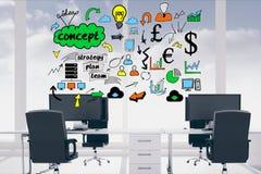 Digital erzeugtes Bild von verschiedenen Ikonen herein über leeren Stühlen und Schreibtisch im Büro Lizenzfreie Stockfotos