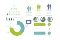 Digital erzeugtes blaues und grünes Geschäft infographic Stockfoto