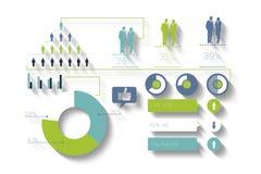Digital erzeugtes blaues und grünes Geschäft infographic Stockfotografie