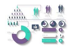 Digital erzeugtes grünes und purpurrotes Geschäft infographic Stockfoto