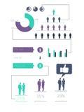 Digital erzeugtes grünes und purpurrotes Geschäft infographic Stockfotos