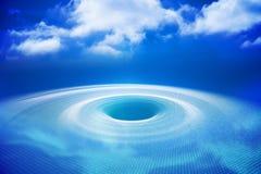 Digital erzeugtes Loch mit Blaulicht Stockbild