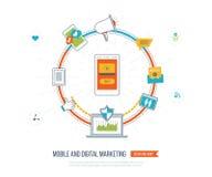 Digital et concept mobile de vente Réseau social Photo libre de droits