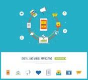 Digital et concept mobile de vente Réseau social illustration stock