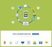 Digital et concept mobile de vente Réseau social illustration libre de droits