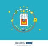 Digital et concept mobile de vente Réseau social Achats en ligne Photos libres de droits