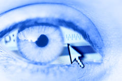 Digital eye. Eye with internet browser and mouse arrow Royalty Free Stock Images