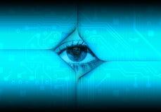 Digital eye. Blue digital cyber eye background Stock Images