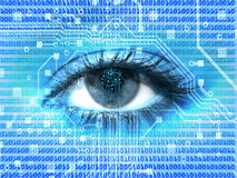 Digital eye. Blue digital cyber eye background Stock Image