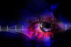 Digital eye. Digital illustration of an eye scan as concept for secure digital identity Royalty Free Stock Photos