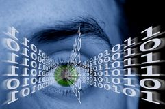 Digital eye. Conceptual photo - binary code flying out of an eye Royalty Free Stock Images