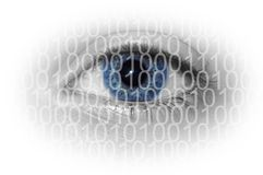 Digital Eye. Blue eye with binary numbers isolated on white background Royalty Free Stock Photo