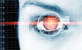 Digital eye. Abstract photo of a woman´s eye with head-up display and laser beam stock illustration