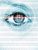 Digital eye. Abstract photo of a woman´s eye with head-up display and laser beam Stock Photos