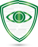 Digital eye and coat of arms, security and IT services logo Royalty Free Stock Images