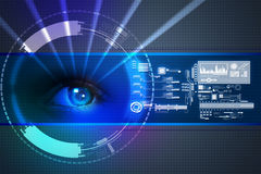 Digital eye. In color background Royalty Free Stock Images