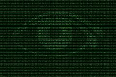 Digital eye in green binary background Stock Photos
