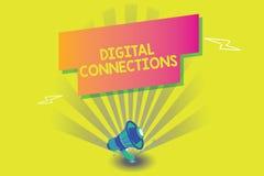 Digital för ordhandstiltext anslutningar Affärsidé för att kraftiga vägar ska förbinda online-global hög definition royaltyfri illustrationer