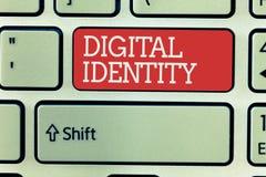 Digital för ordhandstiltext identitet Affärsidé för information på enheten som används av datoren för att föreställa medlet royaltyfri fotografi