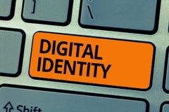 Digital för ordhandstiltext identitet Affärsidé för information på enheten som används av datoren för att föreställa medlet arkivfoton