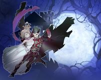 Digital fantasy illustration of a handsome vampire and a beautiful girl Royalty Free Stock Photos