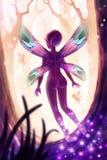 Digital fantasy illustration of  magical fairy forest stock illustration