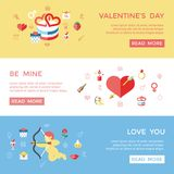 Digital  february happy valentine`s day. And wedding celebration color simple flat icon set with red heart, angel and love  infographics website design Royalty Free Stock Images