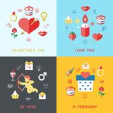 Digital  february happy valentine`s day. And wedding celebration color simple flat icon set with red heart, angel and love  infographics Royalty Free Stock Image