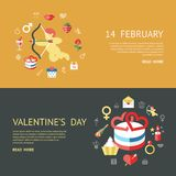 Digital  february happy valentine`s day. And wedding celebration color simple flat icon set with red heart, angel and love isolated infographics website design Royalty Free Stock Image