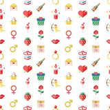 Digital  february happy valentine`s day. And wedding celebration color simple flat icon set with red heart, angel and love  seamless pattern Royalty Free Stock Images